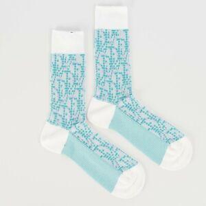 DIOR x SHAWN STUSSY 450$ Oblique Socks In White Stretch Cotton Jacquard