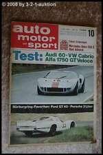 AMS Auto Motor Sport 10/68 DB 250 S VW Käfer Cabrio Alfa 1750 GTV