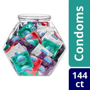 Durex Condom Fish Bowl Natural Latex Condoms, 144 Count Ultra Fine, Lubricated.+