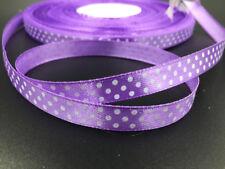 "50 Y 3/8"" 10mm Bulk Polka Dot Ribbon Satin Craft Supplies crafts purple color"
