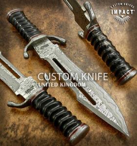 IMPACT CUTLERY RARE CUSTOM DAMASCUS FULLER HUNTING BOWIE KNIFE BULL HORN HANDLE