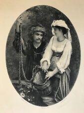 Orientaliste Jeune fille au puits E Hébert graveur E Pirodon litho signée C 1870