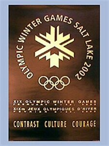 "SALT LAKE CITY 2002 LOGO - Winter Olympic Poster - BLACK & GOLD LOGO 22""x34"""