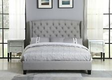 1pc Gray Linen Fabric Contemporary California King Size Bed Bedroom Furniture