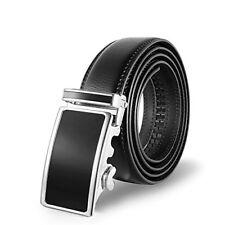 Men's Fashion Leather Belt Sliding Buckle 35mm Ratchet Belt Black (black3)