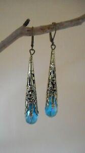 New blue silver drop earrings Art deco