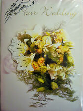 3d Musical Wedding Congratulations Card & Envelope (plays Here Comes The Bride) Purple Flowers