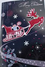CHRISTMAS CARD - MERRY CHRISTMAS, REINDEER & SLEIGH - EMBELLISHED ON FRONT (593)