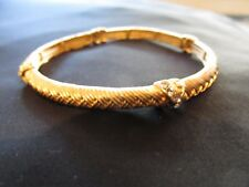 Goldtone Metal Stretch Bracelet  w clear rhinestones Fashion Jewelry