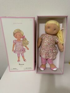 """Pottery Barn Kids Reese Soft Plush Doll Blond Hair Blue Eyes 19"""" NEW IN BOX"""