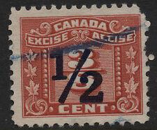 Canada Revenue VanDam Fx111 1/2c Overprint on 3/8c Three Leaf Excise Tax
