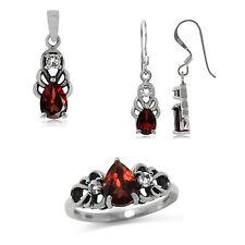 Natural Garnet & Topaz 925 Sterling Silver Filigree Pendant Earrings Ring Set
