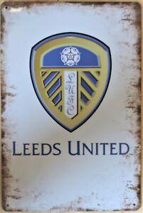 Leeds United Pub Metal Garage Sign Wall Plaque Vintage mancave A4 12 x 8