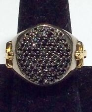 Men Silver Black Diamond Ring, Size 9 - MUST SELL