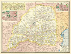TRANSVAAL. South Africa. Inset Witwatersrand, Johannesburg & Pretoria  1920 map