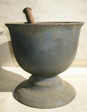 Rare Antique Primitive 19th Century Apothecary Cast Iron Mortar and Pestle Rx