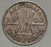 1943 AUSTRALIA UK King George VI Wheat Stalks Threepence SILVER Coin i56809
