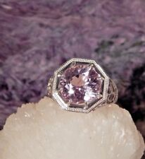 3.85 Ct. Round Faceted Kunzite Ring Sterling Silver Heavy Filigree Setting