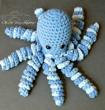"Handmade Amigurumi Preemie-Buddy Baby Toy Crochet Stuffed 7"" Octopus Blue"