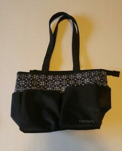 Carters Tote Style Zip Close Diaper Bag black and white pattern