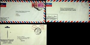 PAKISTAN INTL COMMERCIAL LIB. 3 AIRMAIL COVERS W/ 6v & METER FRANKED TO AUSTRIA