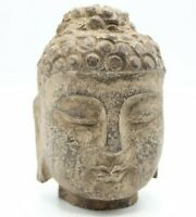 """LARGE ANTIQUE CARVED STONE BUDDHA HEAD STATUE FROM TIBET HEAVY STONE 5"""""""