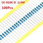 100Pcs 1/4W 0.25W Metal Film Resistor ±1% 1K -910K Ω Ohm 1 K - 910 K