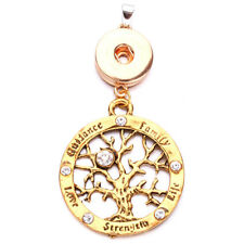 Tree of Life Charm Pendant Necklace Choker Necklace Fit 18mm Noosa Snap Button