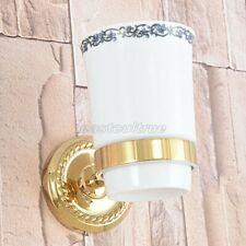 Gold Color Brass Wall Mounted Toothbrush Holder with Single Ceramic Cup eba590