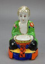 "Japanese Satsuma,Sitting Amida Buddha Figurine Serenity incense burner 5"""