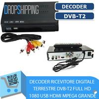 DECODER RICEVITORE DIGITALE TERRESTRE DVB-T2 FULL HD 1080 USB HDMI MPEG4 GRANDE