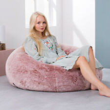 X Large Luxury Faux Fur Bean Bag Chair Adult Beanbag Seat Rose Dust Pink