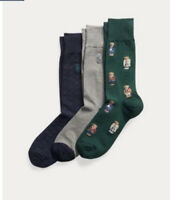 BNWT MENS POLO RALPH LAUREN LUXURY 3 PACK/3 PAIRS POLO BEAR CREW SOCKS ONE SIZE