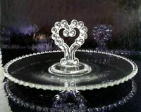 """VINTAGE IMPERIAL OHIO CANDLEWICK BEADED GLASS LARGE SANDWICH HOLDER  12"""""""