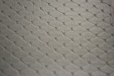 Gray Embossed Diamond Stitch Faux Leather Fabric Vinyl Upholstery 54