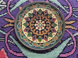 Vintage Enameled Brass Mandala Wall Art Hanging/Dish 12cm