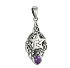 Sterling Silver Triquetra Knot Celtic Pentacle Drop Pendant Genuine Amethyst