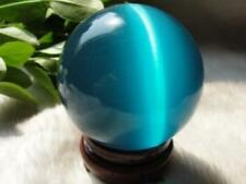 ASIAN QUARTZ BLUE CAT EYE CRYSTAL BALL SPHERE 40MM + STAND FREE SHIPPING