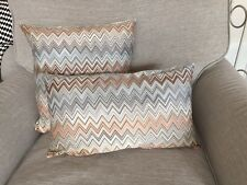 "MISSONI JOHN 160 zigzag CUSHION COVER 30x50cm 12""x20"" 100% SATEEN WITHOUT PILLOW"