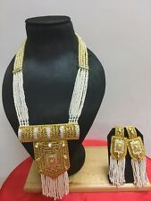 Ethnic Indian Bollywood Gold Plated Kundan Pearl Fashion Jewelry Necklace Set