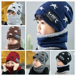 Kids Boys Girls Warm Fleece Hat Snood Scarf Set Kids Children Winter Beanie