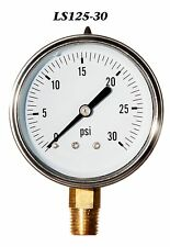 New Hydraulic Liquid Filled Pressure Gauge 0-30 PSI