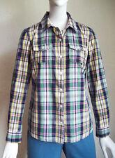 TOMMY HILFIGER Preppy Madras Plaid Button Front Cotton Shirt M
