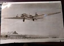 6/27/1941 B-19 flight Above Airfield Hanger cropped outline 10 x 16 b/w photo