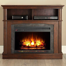 """Electric Fireplace Console TV Stand 45"""" Media Entertainment Heater Storage Wood"""