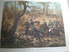 An Imperial Stag Hunt in the Forest of Compiegne France 1860 old colour print