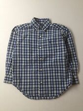 Boy Ralph Lauren Polo Blue Plaid Dress Button Down L/S Shirt Size 4