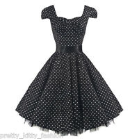 50s BLACK WHITE ROCKABILLY COCKTAIL POLKA DOT VINTAGE TEA SWING PROM DRESS 8-26