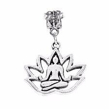 Yoga Lotus Flower Healing Meditation Dangle Charm for European Bead Bracelets