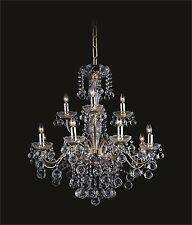 """GOLD Large 12-light Contemporary Crystal CHANDELIER (D25"""" x H28"""") MUST GO SALE"""